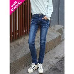 BBAEBBAE - Washed Straight-Cut Jeans