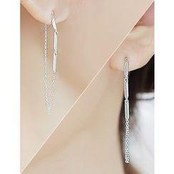 soo n soo - Metal-Bar Chain Drop Earrings