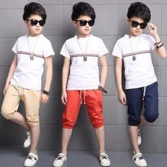 Pegasus - Kids Set: Ribbon Applique Short-Sleeve T-Shirt + Capri Pants
