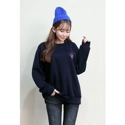 Dalkong - Airplane Embroidered Sweatshirt