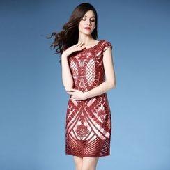 Elabo - Cap-Sleeve Embroidered Sheath Dress