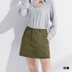 OrangeBear - 素色斜纹口袋造型A字短裙