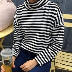 Cloud Nine - High Neck Striped Pullover