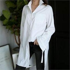 CHICFOX - Tie-Cuff Pinstriped Long Shirt