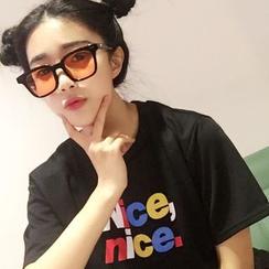 YOSH - Letter Short-Sleeve T-shirt