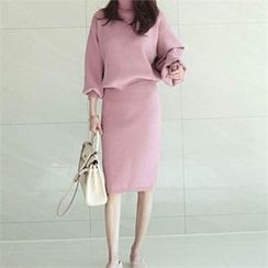 YOOM - Set: Turtle-Neck Puff-Sleeve Knit Top + Band-Waist Knit Skirt