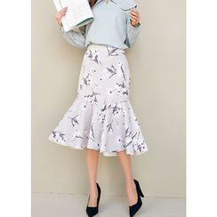 J-ANN - Flower Pattern Midi Mermaid Skirt