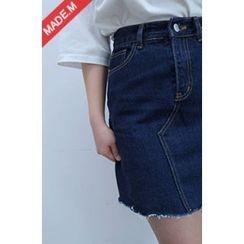 MICHYEORA - Fray-Hem Denim Mini Skirt