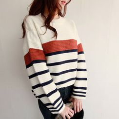 NIPONJJUYA - Crew-Neck Stripe Rib-Knit Sweater