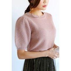 migunstyle - Puff-Sleeve Wool Blend Knit Top