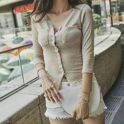 UUZONE - Dual-Pocket Asymmetric-Hem T-Shirt
