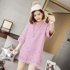 Ashlee - Embellished 3/4-Sleeve Knit Dress