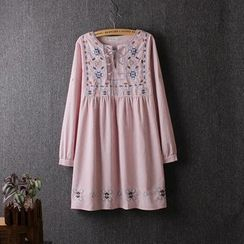 Blue Rose - Embroidered Long-Sleeve A-Line Dress