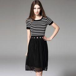 Y:Q - Mock Two-Piece Striped A-Line Dress