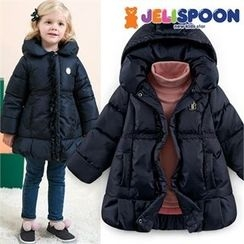 JELISPOON - Girls Hooded Frill-Trim Padded Coat
