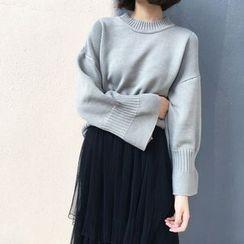 Alfie - Plain Mock-Neck Bell-Sleeve Sweater
