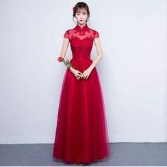 名貴風格 - 蓋袖立領晚裝裙