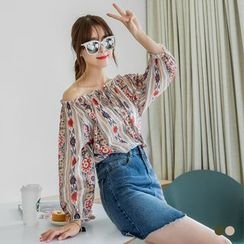 OrangeBear - Ikat Print Off Shoulder Top