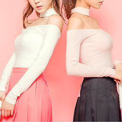 chuu - T-Back Scoopneck Top