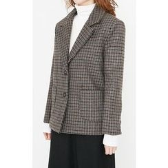 Someday, if - Single-Breasted Checked Wool Blend Jacket