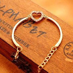 Cheermo - Rhinestone Heart Open Bangle