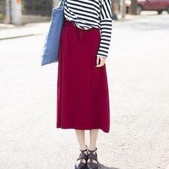 Ando Store - Drawstring-Waist Long Skirt