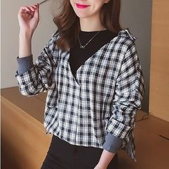 Cocofield - Mock Two Piece Plaid Pullover
