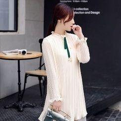 Romantica - Long-Sleeve Pleated Dress