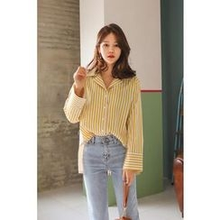 PPGIRL - Bell-Sleeve Striped Shirt