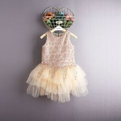 Kidora - Kids Sleeveless Lace Tulle Dress