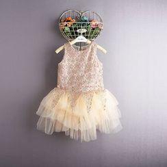 Kidora - 小童无袖蕾丝网纱连衣裙
