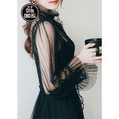 Chlo.D.Manon - Set: Pleated Sheer Tulle Dress + Slipdress