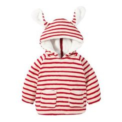 MOM Kiss - Baby Striped Hoodie