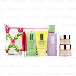 Clinique 倩碧 - Travel Set: Lotion 2 60ml + D.D.M.L 30ml + Soap 30ml + Moisture Surge 15ml + All About Eyes 7ml + Chubby Stick 3ml + Bag