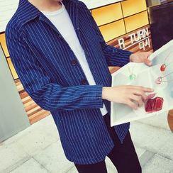 Bay Go Mall - Striped Denim Jacket