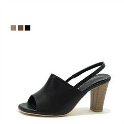MODELSIS - Genuine Leather Sling-Back Pumps