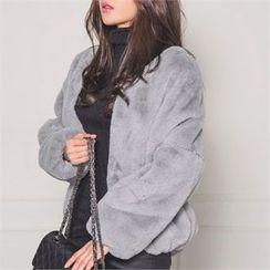 ERANZI - Hook and Eye Faux-Fur Jacket
