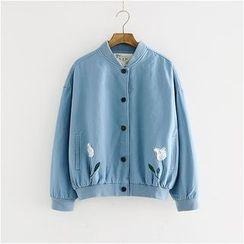 Storyland - Embroidery Ribbed-Trim Jacket