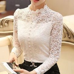 Caroe - Fleece-lined Long-Sleeve Lace Top
