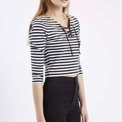 Chicsense - 3/4-Sleeve Striped Top