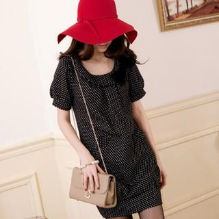 Tokyo Fashion - Short-Sleeve Bow-Accent Dotted Tunic