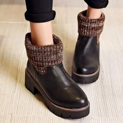 JY Shoes - Knit Panel Chunky Ankle Boots