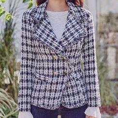 chuu - Fringed Plaid Wool Blend Tweed Blazer