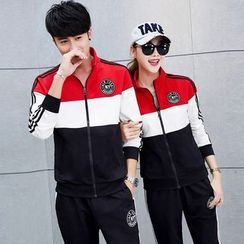 Lovebirds - Set: Couple Color-Block Sweatshirt + Sweatpants