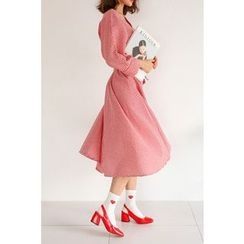 PPGIRL - V-Neck Gingham Dress With Sash