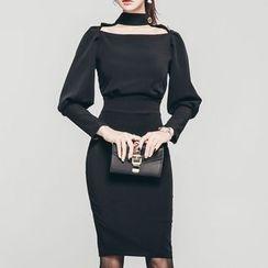 ISMY - 贴脖项链领长袖塑身连衣裙