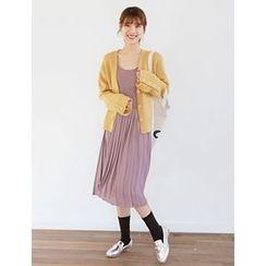 FROMBEGINNING - Sleeveless Pleated Midi Dress