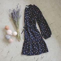 JUSTONE - Drawstring-Waist Floral Pattern Dress