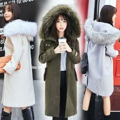 Romantica - Wool Blend Furry-Trim Hooded Buttoned Coat