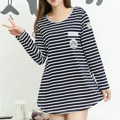 NEUF - Maternity Long-Sleeve Striped T-Shirt